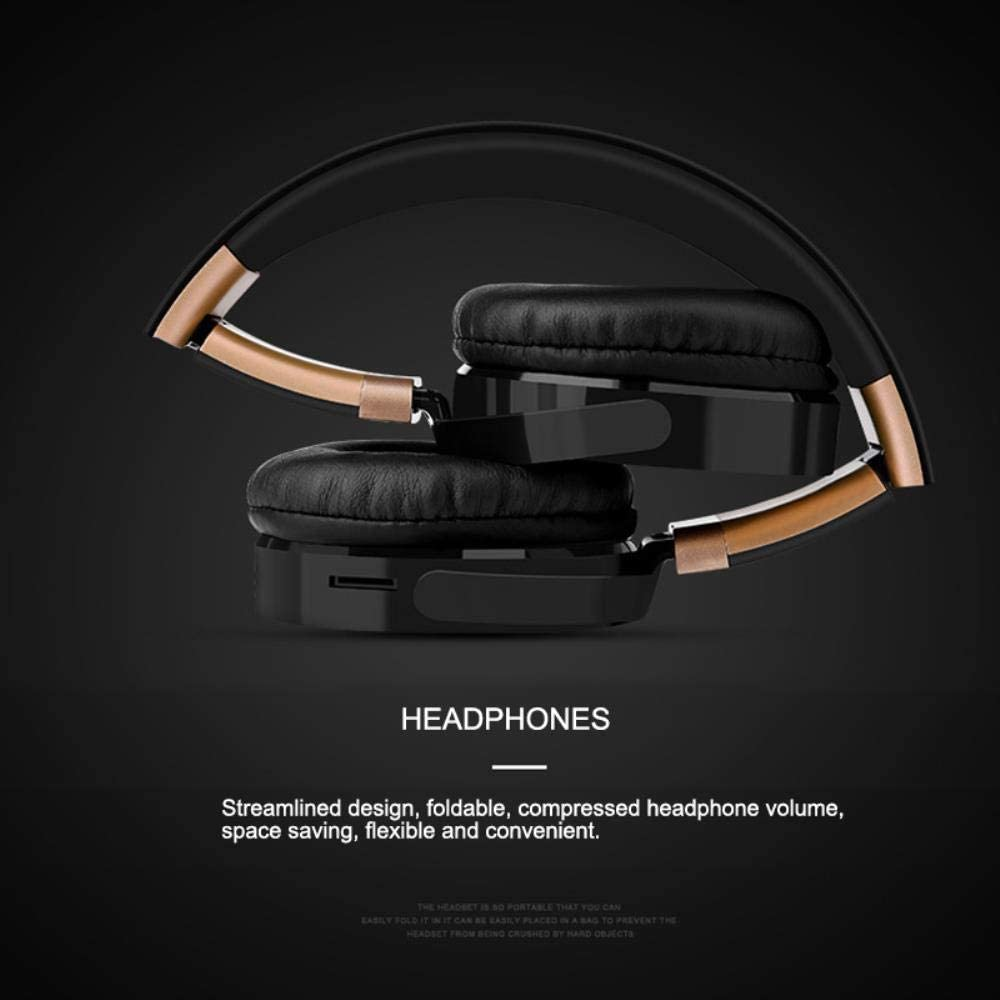 FXMINLHY Wireless Multi-function Comfortable Headphone Music Sport Microphone Game Earphone Headband Bluetooth 4.2 Earphone,Black Red