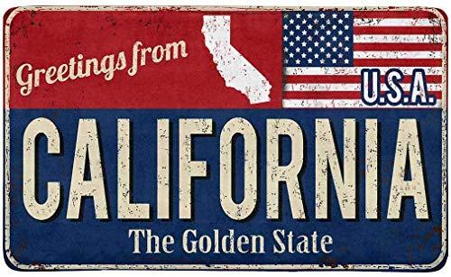 Kanaite Vintage-Grüße aus Kalifornien The Golden State mit Innen-Fußmatte mit amerikanischer Flagge Rutschfester Teppich mit vorderer Einstiegstür
