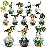 24 Stück Dinosaurier Cupcake Toppers und 24 Stück Dinosaurier Cupcake Wrappers,Dinosaurier Kuchen...