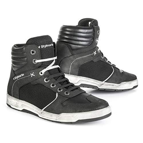 STYLMARTIN Motorradschuhe ATOM Sneaker Mesh schwarz mit Knöchelprotektoren Größe 42
