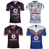 JUNBABY Warriors Maillot De Rugby, Chemise D'EntraîNement pour Hommes, Warrior Rugby T-Shirt-Black-L