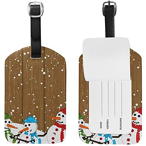 Feliz Navidad Colorido Muñeco de Nieve Imprimir Etiquetas de Equipaje ID de Viaje Bolsa de Etiqueta para Maleta 2 Piezas