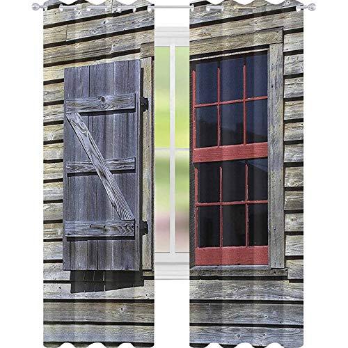 YUAZHOQI - Cortinas para sala de estar (madera, 132 x 213 cm), color rojo y marrón