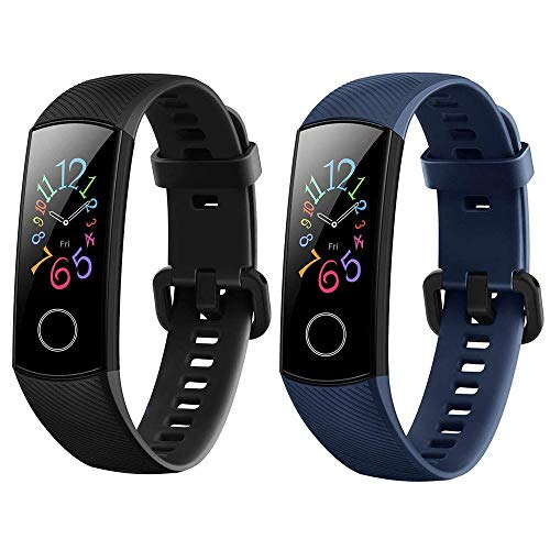 Yishark Cinturino di Ricambio per Honor Band 5 / Honor Band 4 Smartwatch Activity Tracker Cinturino per Orologio Fitness Tracker Contapassi (Nero + Blu)