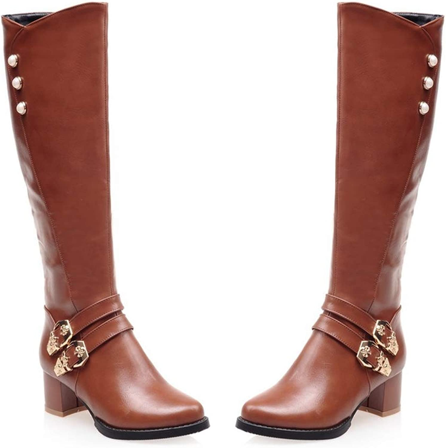 Sam Carle Women Boots, Back Zipper Belt Buckle Thick Heel Round Toe Knee-High Boots