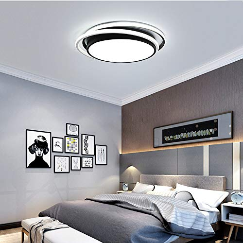 Warm Home Mode 3 Verkleuring Licht Individualiteit Circulaire LED Plafond Lamp Zwart Acryl 36W Woonkamer Slaapkamer Den Nordic Diameter 48 * 6cm Moderne Ideeën LED