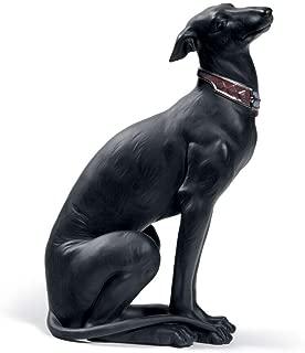 Lladro Sale Porcelain ATTENTIVE Greyhound (Black) 010.08605 Worldwide Shipping