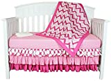 Bacati Zig Zag/Polka Dots 4-in-1 Cotton Baby Crib Bedding Set, Pink