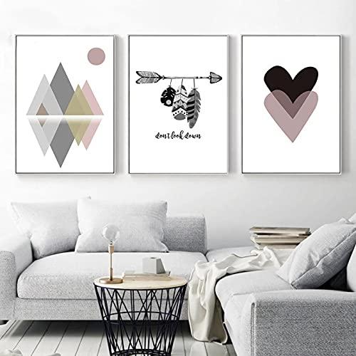 Pinturas geométricas abstractas en lienzo Arte Decoración de la pared Sala de estar Sofá Fondo Dormitorio Pasillo Porche Imagen de la pared 20x35cm (8x14in) x3Pcs Sin marco