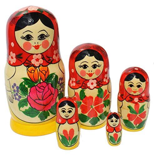Semenovskay Rospis Matroschka Matrjoschka Babuschka Steckpuppe Alenka Set aus 5 Puppen 16cm