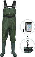 TIDEWE Bootfoot Chest Wader, 2-Ply Nylon/PVC Waterproof Fishing & Hunting Waders with Boot Hanger for Men and Women (Green and Brown)