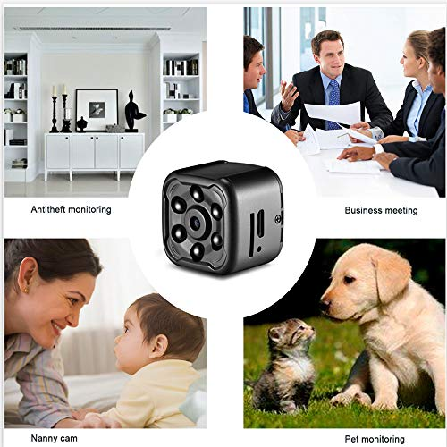 Mini Spy Cam, OMOUP 1080P Portable Cop Cam Hidden Camera Nanny Cam Action Camera Pet Cam with Night Vision and Loop Recording for Home Car Office Drone Bike(Black)