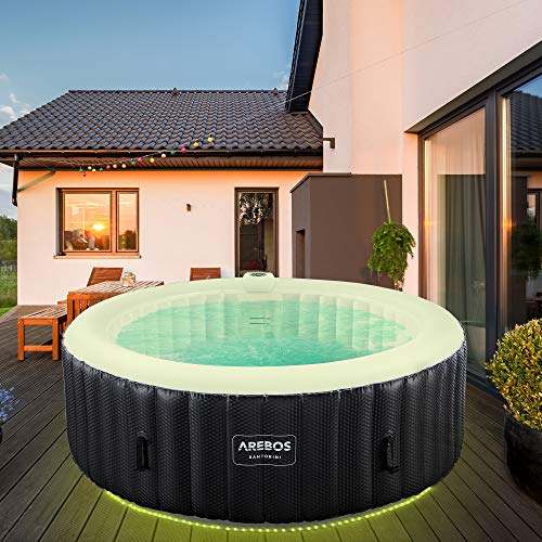 Arebos Whirlpool Santorini | inflable automático | para interior y exterior | 6 personas | banda luminosa LED | 130 boquillas de masaje | 1000 litros | incluye cubierta | Bubble Spa & Wellness mas