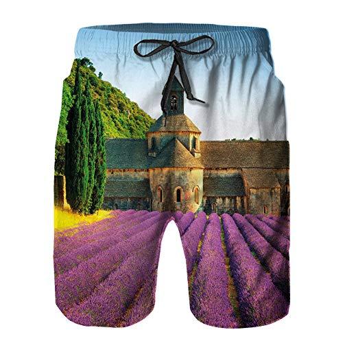 DmiGo Pantalones Cortos De Playa para Hombres,Abadía de Senanque en Francia Campo de Arquitectura Filas,Pantalones De Chándal De Secado Rápido, Bañador De Verano para Ejercicios Al Aire Libre L