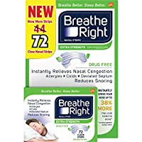 Breathe Right Nasal Strips to Stop Snoring, Drug-Free, Extra Clear (72 ct.) [並行輸入品]