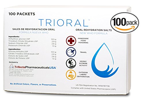 Oral Rehydration Salts ORS (100, One Liter Packets/Box) World Health Organization (WHO) New Formula for Electrolyte Replacement and Dehydration