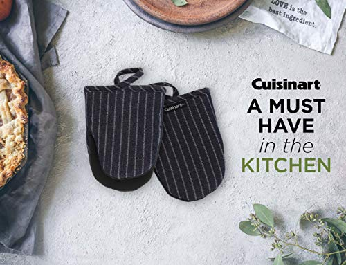 Cuisinart Farmhouse Neoprene Mini Oven Mitts, 2pk- Heat Resistant Kitchen Gloves to Protect Hands, Non-Slip Grip- Ideal Set for Handling Hot Cookware, Bakeware– Denim Pin Stripe