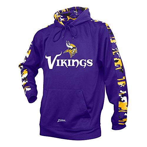 Zubaz NFL Minnesota Vikings Men's Camo Print Accent Team Logo Synthetic Hoodie, Small, Purple