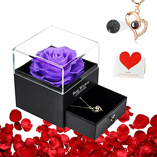 DUOSME 3.3 inch Large Forever Preserved Rose with Necklace,Birthday Gifts for Mom Women Her Girlfriends,Eternal Real Flower for Valentines Day,Anniversary,Thanksgiving,Christmas,Purple