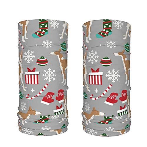 Dyfcnaiehrgrf Ibizan Hound Weihnachten – Grau 2 Stück Eisseide Hals Gaiter Sonnenschutz Kühlende Gesichtsmaske Staubschutz Gesichtsschal Gesichtsbedeckung...