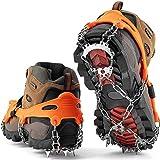 SFJRY® Crampones Nieve Hielo, 19 Dientes Tacos de tracción Nieve y Hielo Tracción para Invierno Deportes Montañismo Escalada Caminar Alpinismo Cámping Acampada Senderismo,Naranja,XL