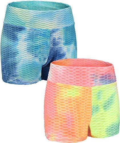 ANGEL CITIZ Women' s 2-Pack Yoga Shorts Ruched Butt Lifting Sport Elastic High Waist Gym Workout Tie Dye Compression Short Blue-L