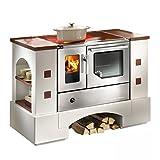 Haas + sohn planai maqueta de cocina, 5-C Construcción de acero inoxidable con los fogones, vitrocerámica, horno de tubo y salida de humos a la derecha, Vicino altura