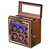Automatic Watch Winder Vertical Premium Walnut Watch Winders Box with 6+4 Slot Adjustable Upgraded Watch Pillows for Men's and Lady's Watches