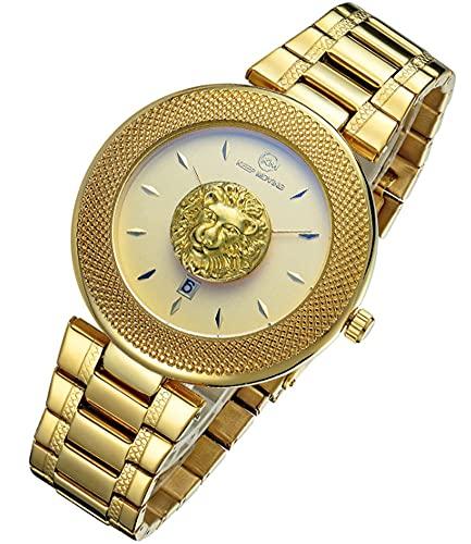 CHXISHOP Reloj de Cuarzo de la Personalidad de la Personalidad del Deporte de la Moda de los Hombres Reloj Impermeable de la Correa de Acero Inoxidable Gold 1