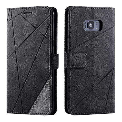 Bear Village Cover Galaxy S8 Plus, Flip Custodia con Porta Carte e Funzione Staffa, Antiurto Custodia Portafoglio in PU Pelle per Samsung Galaxy S8 Plus, Nero