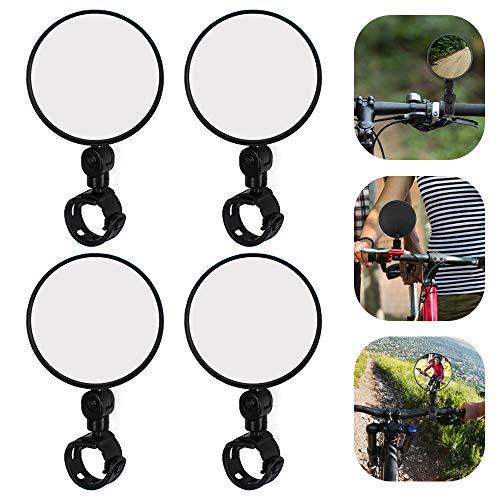 Espejo para bicicleta 4 piezas Espejo para bicicleta con extremo de barra, Espejo retrovisor para bicicleta, Espejo retrovisor para ciclismo Rotación de 360 ° para bicicleta de carretera de montaña