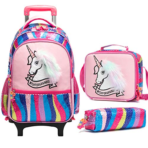 Kids Rolling Backpack for Girls Backpack with Wheels Backpack for Girls for School with Lunch Box...
