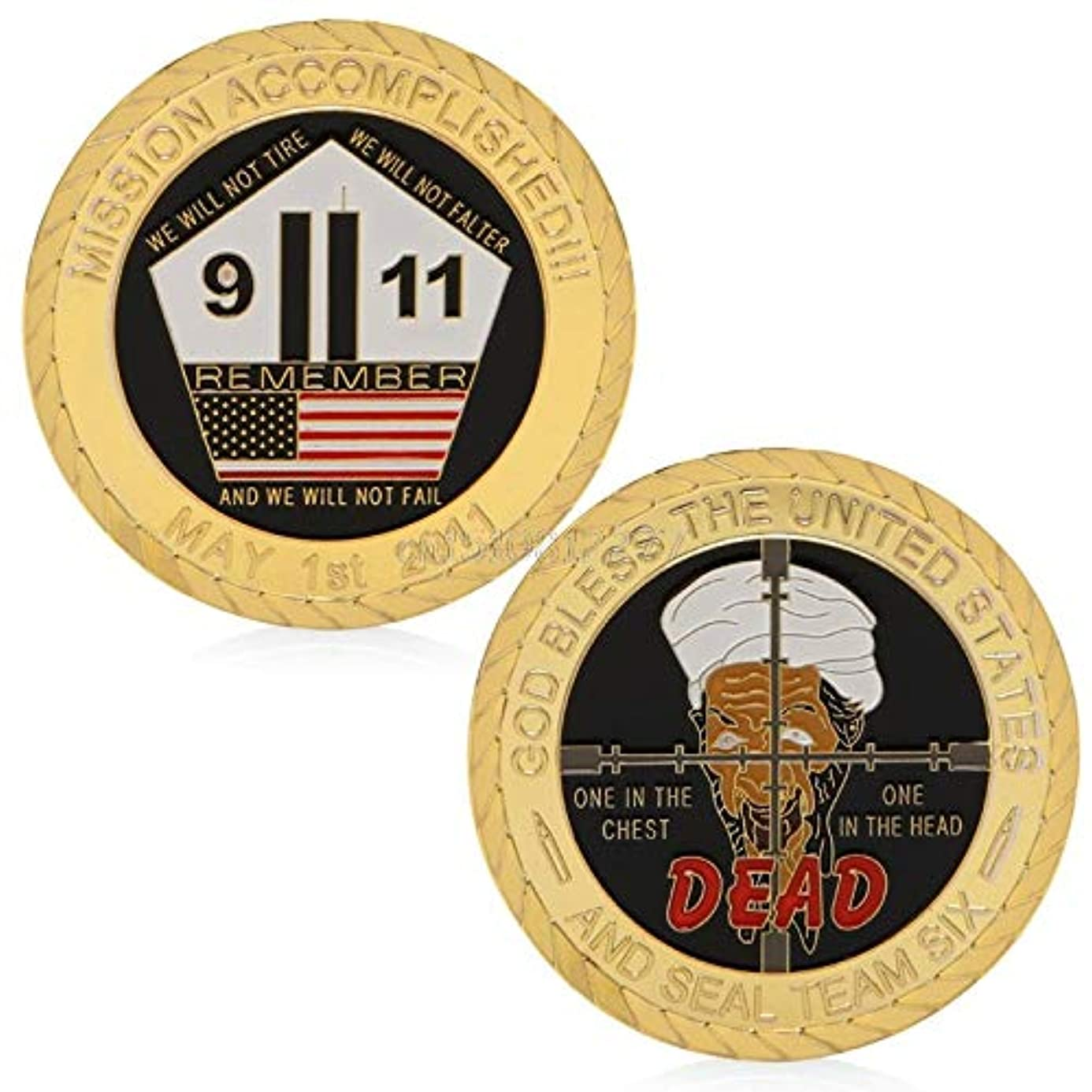 Challenge Coin - Coin God Bless The United States 911 Attack Commemorative Collectible Challenge H0vh - Thank Trump Airborne Green Display Corrections Money Patch Lapel Jeep Opener Brother Rac