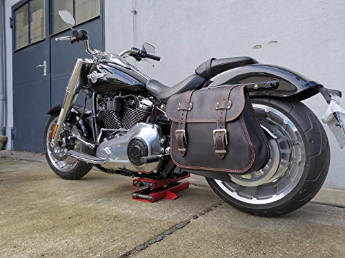 ZEUS BLACK & ORANGE Satteltasche Seitentasche Ledertasche Harley Davidson Orletanos Seitenkoffer Gepäcktasche Leder HD