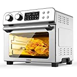 CUSIMAX 10-in-1 Air Fryer Toaster Oven Combo, 24 Quart/6 Slices Large Convection Oven, Countertop Oven with Rotisserie, Dehydrator for Chicken, Pizza, 6 Accessories & Recipes, 1700W, Stainless Steel