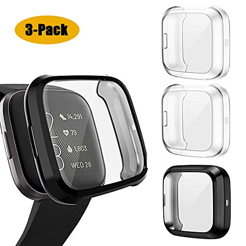 USJee 3-Pack Screen Protector Case Compatible with Fitbit Versa 2, TPU Rugged Bumper Case Cover Touch Sensitivity Protective Plated Bumper Shell Accessories [Scratch-Proof]