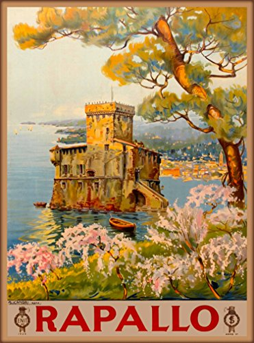 A SLICE IN TIME Rapallo Genoa Italy Italian Vintage European Travel Advertisement Art Poster Print. Measures 10 x 13.5 inches