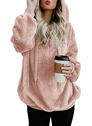 Dokotoo Womens Fleece Hoodies Loose Cozy Casual Solid Sweatshirts Fuzzy Sweater Sweatshirt Pullovers Outerwear Fashion Hooded Pink Large