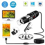 USB Microscope,1000x Zoom 8 LED USB 2.0 Digital Mini Microscope Camera with OTG Adapter and Metal Stand,...