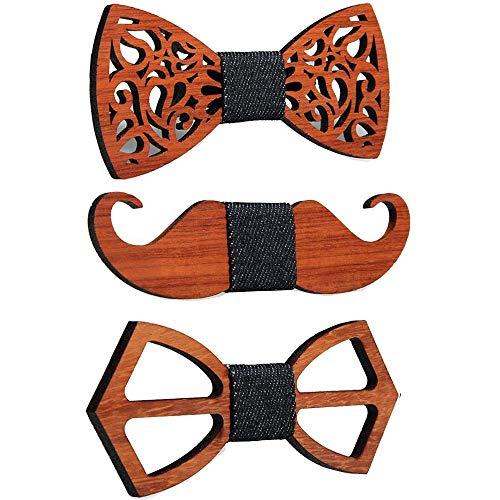 3 Stks Nieuwe Bloemenhout Bow Ties voor Mannen Bowtie Bruiloft Pak Houten Bowtie Shirt Krawatte Bowknots Slim Tie