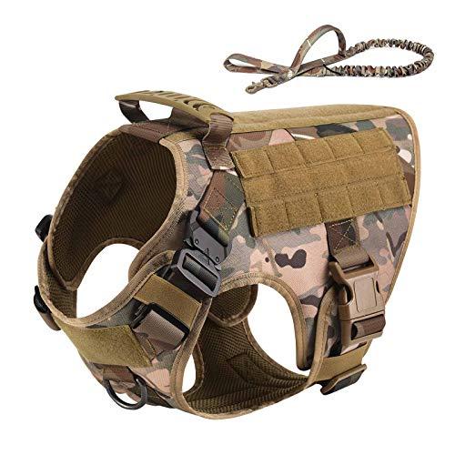 Vmokki Taktisch Hundegeschirr & Hundeleine K9 Hundeweste Molle Verstellbar Gepolstert für mittelgroße, große Hunde Outdoor Wandern (Tarnfarbe, L)