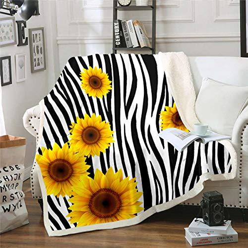 Homewish Manta de cama con diseño de girasoles, color negro, blanco, a rayas, suave, manta de sofá, manta de forro polar, con botones de acción rosa, azul, manta de regalo, tamaño King de 221 x 241 cm