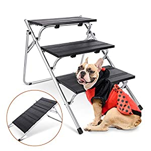 JOEJOY Convertible Pet Steps & Ramp, Folding Pet Stairs, 2-in-1 Foldable Pet Steps for Small Dogs and Cats, 3-Steps Pet Climbing Ladder for High Beds, Car, Sofa, Dog/Cat Ladder