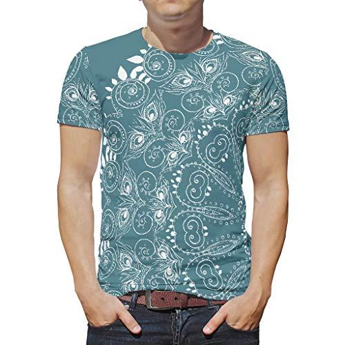 O2ECH-8 Männer Bohimian T-Shirt Jungs Top, Emerald Mandela Lässig Sommer - Mandela Art Muster gedruckt Polyester Kurzarmhemd White 4XL