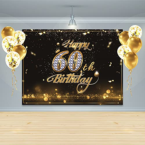 Gatherfun Birthday Party Supplies Happy 60th Birthday Banner Backdrop with 10 Pcs Balloons Black Gold Birthday Party Large Background Photo Props for Men and Women 60 Birthday Decorations