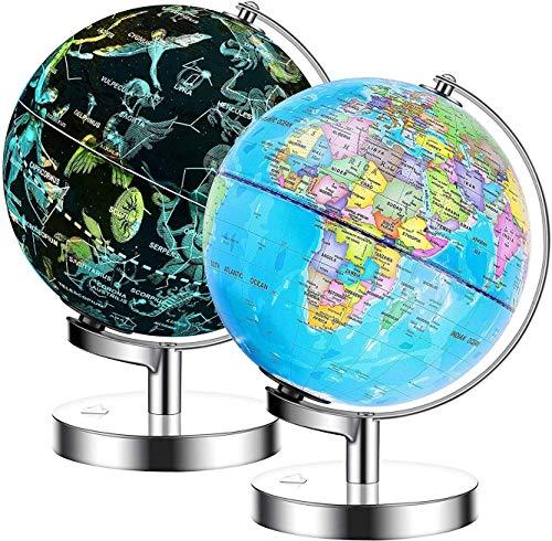 Exerz 23cm Globo terráqueo Iluminado- Soporte de Metal - Mapa de Ingles - Lámpara LED 2 en 1 iluminada sin Cable - Mapa político/ Estrella de constelación - Día y Noche (23cm)