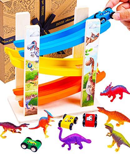 Jaques of London Dinosaurierauto Parkhaus Holz - Dinosaurierauto aus Holz für Kinder - Traditionelles Spielzeug aus Holz und Geschenke für Kinder im Alter von 3 4 5 6 7 8 Jahren - Seit 1795