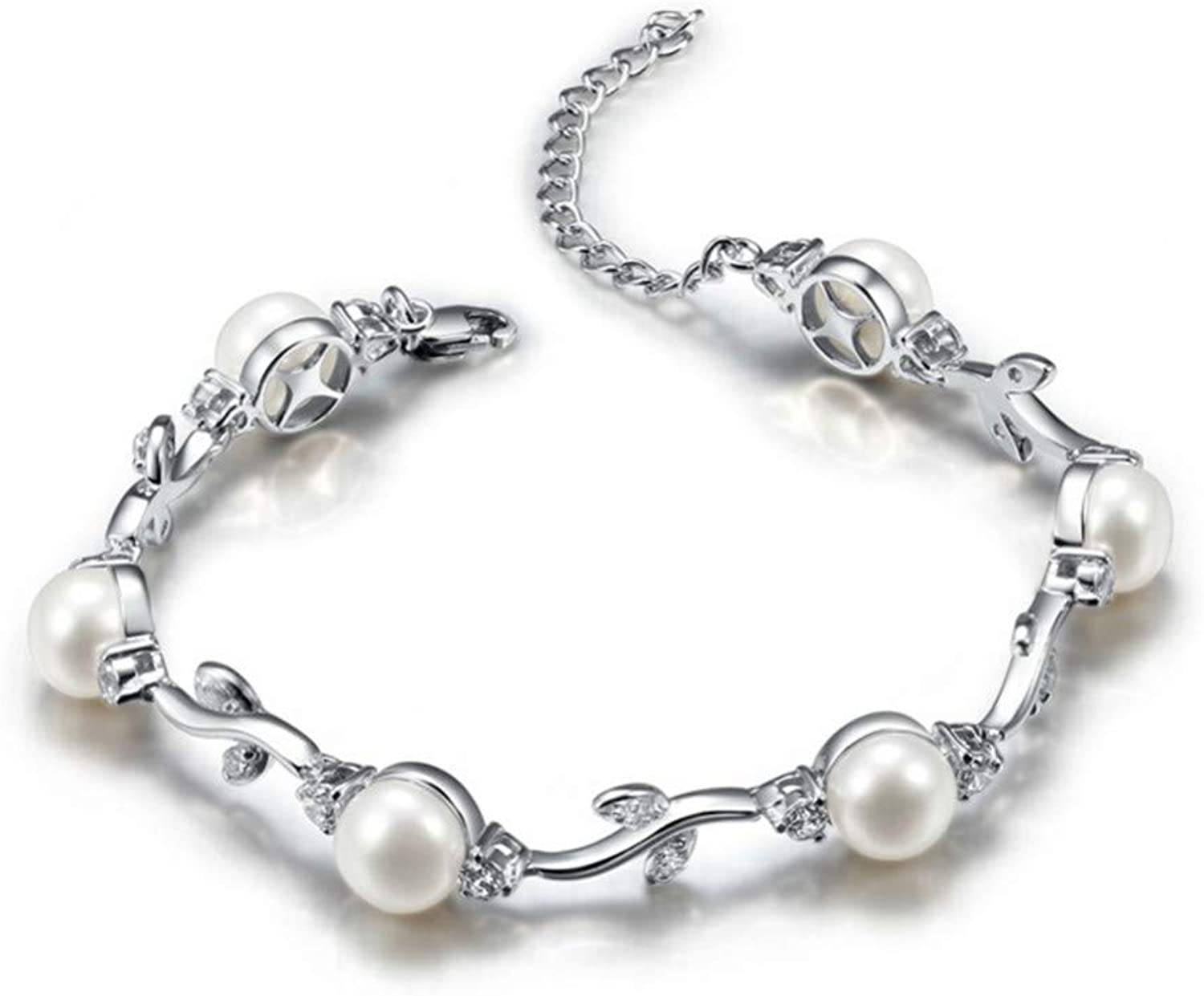 HUSHOUZHUO 925 Sterling Silver Bracelet Jewelry with 6Pcs 7.58Mm Natural Freshwater Pearls High Luster Silver Pearl Bracelet