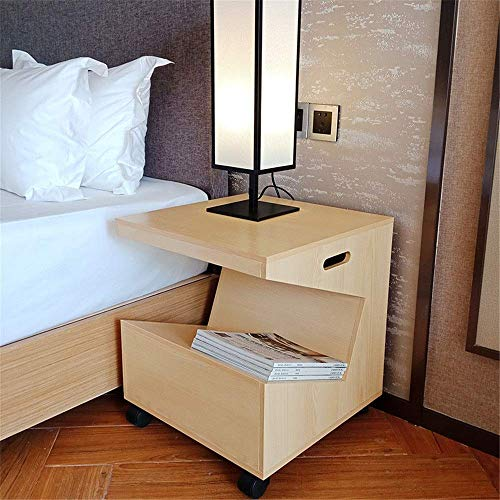 Sale!! FENGTING Bedside Table MobileBedside Table Sofa Side Table Wooden Nightstand with Open Adjust...