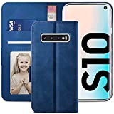 YATWIN Handyhülle Samsung Galaxy S10 Hülle, Klapphülle Samsung Galaxy S10 Premium Leder Brieftasche Schutzhülle [Kartenfach] [Magnet] [Stand] Handytasche Hülle für Samsung Galaxy S10, Blau